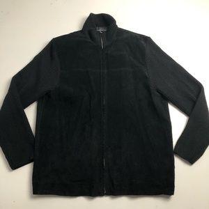 Wayne Gretzky Leather Sweater Jacket Black